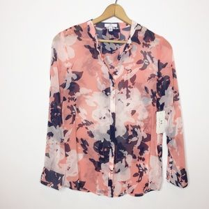 NWT H Halston floral sheer blouse navy white pink